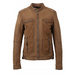 CASTEL (REF. 62983) TOBACCO- GENUINE NUBUCK LEATHER JACKET