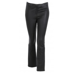 ATHENA (REF. 63780) BLACK - GENUINE LEATHER FLARE STRETCH TROUSERS