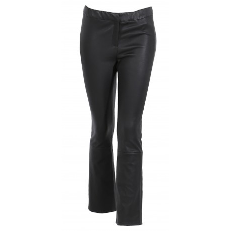 ATHENA (REF. 63780) NOIR - PANTALON FLARE STRETCH EN CUIR VERITABLE