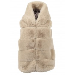 SISTER (REF. 63726) BEIGE - SLEEVELESS WAISTCOAT WITH HOOD IN FAKE FUR