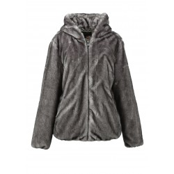 CONNECTING (REF. 63052) CLOUDY GREY - HOODED FAKE FUR JACKET