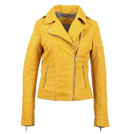 PALM (REF. 63577) YELLOW- GENUINE LEATHER JACKET WITH ASYMMETRIC FASTENING