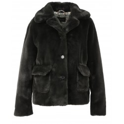 GAME (REF. 63786) DARK GREY - SHORT COAT IN FAKE FUR WITH A SUIT COLLAR