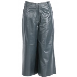 MEGHAN (REF. 63768) DARK GREEN - GENUINE LEATHER CULOTTE TROUSERS