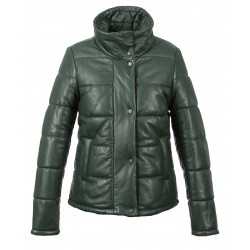 DOLLY (REF. 63831) DARK GREEN - SHORT GENUINE LEATHER DOWN JACKET WITH HIGH COLLAR