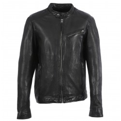 STEEVE (REF. 63868) BLACK - GENUINE LEATHER INSPIRED BIKER JACKET