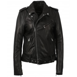 ONLY (REF. 63721) BLACK - GENUINE LEATHER BELTED ASYMMETRICAL JACKET