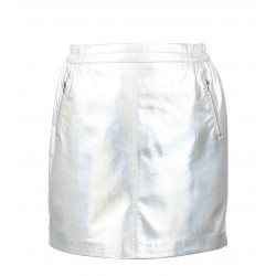 STREET (REF. 63562) SILVER - MINI SKIRT WITH SILVERY ZIPPED POCKETS
