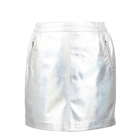 STREET (REF. 63562) SILVER - JUPE COURTE DROITE POCHES ZIPPEES ARGENTEES