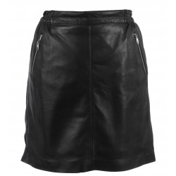 STREET (REF. 63562) BLACK - MINI SKIRT WITH SILVERY ZIPPED POCKETS