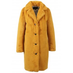 CYBER (REF. 63053) DARK YELLOW - LONG FAKE FUR LAPEL COAT