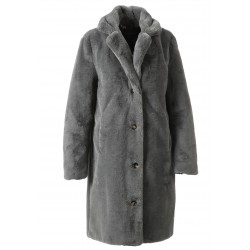 CYBER (REF. 63053) GRIS - MANTEAU LONG EN FOURRURE SYNTHÉTIQUE A COL REVERS