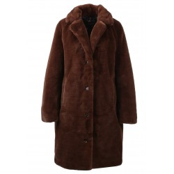 CYBER (REF. 63053) MARRON - MANTEAU LONG EN FAUSSE FOURRURE A COL REVERS