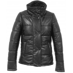 DOLLY (REF. 63831) BLACK - SHORT GENUINE LEATHER DOWN JACKET WITH HIGH COLLAR