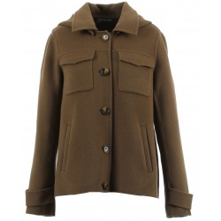 AMALFI (REF. 63695) DARK KHAKI - WOOL JACKET WITH REMOVABLE HOOD