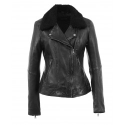 FOLLOWER (REF. 63693) BLACK - GENUINE WASHED LEATHER JACKET WITH REMOVABLE FAKE FUR COLLAR