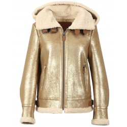 GLORIA (REF. 63740) GOLD - SHORT BOMBER JACKET IN FAUX SHEARLING WITH HOOD
