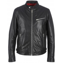 BIKER (REF. 61821) BLACK - GENUINE GRAINED LEATHER JACKET