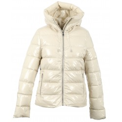 GRAVITY (REF. 63758) IVORY - SHINNY NYLON HOODED SHORT DOWN JACKET