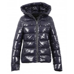 GRAVITY (REF. 63758) PETROL BLUE - SHINNY NYLON HOODED SHORT DOWN JACKET