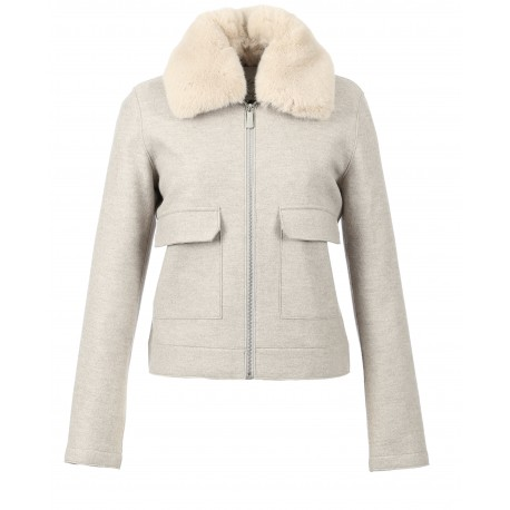 SOCIETY (REF. 63699) BEIGE - WOOL JACKET WITH REMOVABLE COLLAR IN FAKE FUR