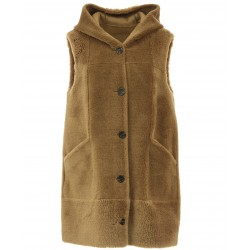 MAGDA (REF. 63749) COGNAC - FAUX SHEARLING REVERSIBLE HOODED VEST (100% WOOL)