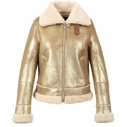 LIKE (REF. 63742) GOLD - SHORT BOMBER JACKET IN FAUX SHEARLING
