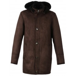 DYLAN (REF. 63285) CHOCOLATE - HOODED FAKE SHEARLING COAT