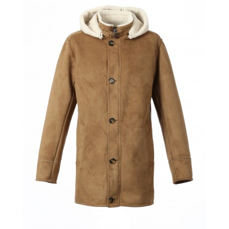 DYLAN (REF. 63285) COFFEE - HOODED FAKE SHEARLING COAT