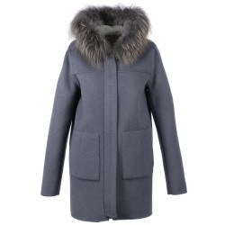 YUCATAN BI (REF. 63078) PETROL BLUE/LIGHT GREY - SHORT LENGHT REVERSIBLE WOOL COAT