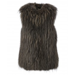 FRIDA (REF. 63819) DARK KHAKI - WAISTCOAT IN REAL FUR WITH A ROUND COLLAR