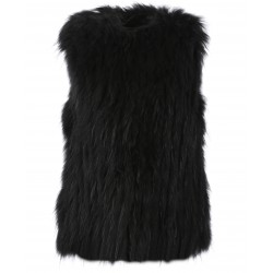 FRIDA (REF. 63819) BLACK - WAISTCOAT IN REAL FUR WITH A ROUND COLLAR