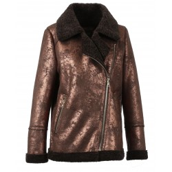 COMMANDER (REF. 63487) CLOUDY CHOCO - FAUX SHEARLING CRACKED EFFECT REFINE BOMBER JACKET