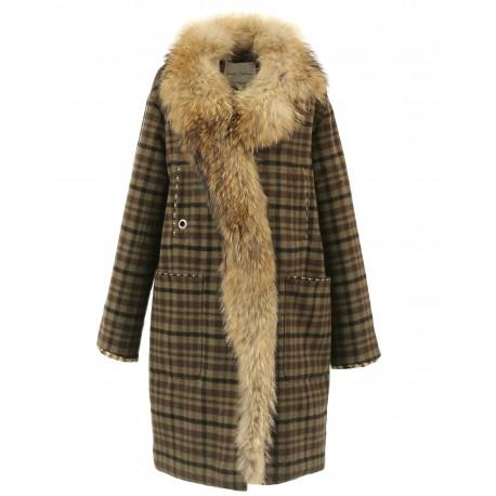 FOLK (REF. 63686) KHAKI - WOOL COAT WITH LONG REAL FUR COLLAR