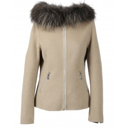 BALI BI (REF. 63707) LIGHT BEIGE - WOOL JACKET WITH HOOD AND REAL FUR