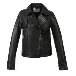 HARMONY (REF. 63677) BLACK - TRENCH INSPIRATED JACKET WITH ASYMMETRICAL CLOSURE BY PRESS BUTTONS