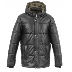 TAG (REF. 63860) BLACK - DOWN JACKET IN GENUINE LEATHER