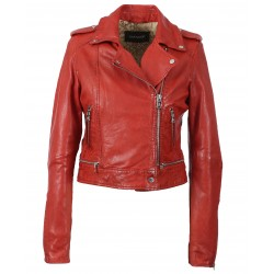 KYOTO (REF. 62966) RED - WASHED LOOK GENUINE LEATHER JACKET