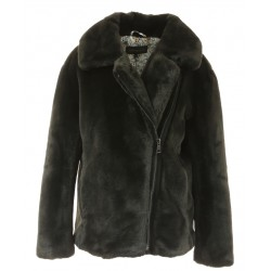 MEDIA (REF. 63788) DARK GREY - ASYMETRICAL JACKET IN FAKE FUR