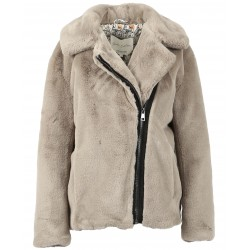 MEDIA (REF. 63788) DARK BEIGE - ASYMETRICAL JACKET IN FAKE FUR
