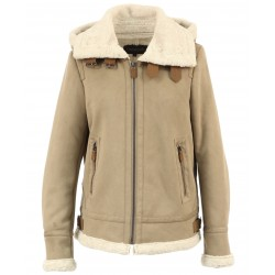 GLORIA (REF. 63741) MASTIC - SHORT BOMBER JACKET IN FAUX SHEARLING WITH HOOD