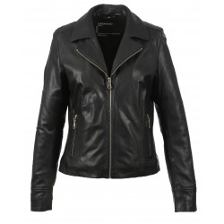 SIDE (REF. 63775) BLACK - SUIT'S COLLAR JACKET IN GENUINE LEATHER