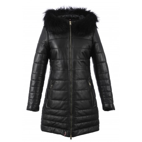 MARY LUXE (REF. 63091) BLACK/BLACK – HOODED GENUINE LEATHER DOWN JACKET WITH FUR