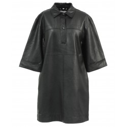 RAPSODY (REF. 63679) BLACK - LARGE SHIRT DRESS IN GENUINE LEATHER