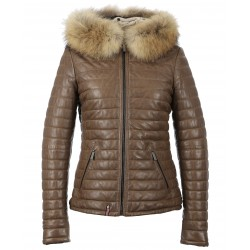 HAPPY (REF. 62666) LIGHT BROWN - TWO-TONE GENUINE LEATHER DOWN JACKET