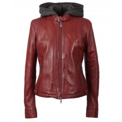 SUNDAY (REF. 63779) FIRE - BIKER JACKET IN GENUINE LEATHER WITH REMOVABLE FACING