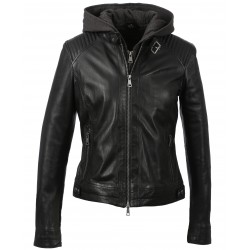 SUNDAY (REF. 63779) BLACK - BIKER JACKET IN GENUINE LEATHER WITH REMOVABLE FACING