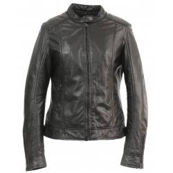 DIANA (REF. 63776) BLACK - GENUINE LEATHER JACKET WITH MANDARIN COLLAR WITH PRESS BUTTON
