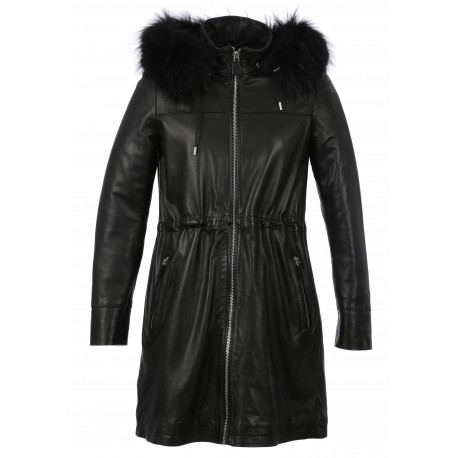 LUCCIANA (REF. 63772) BLACK - GENUINE LEATHER COAT WITH REMOVABLE HOOD AND REAL FUR