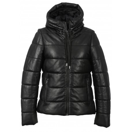 JESSIE (REF. 63834) BLACK - SHORT DOWN DOWN JACKET IN GENUINE LEATHER WITH FIXED HOOD